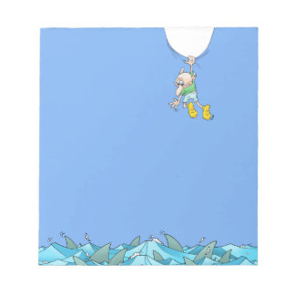 Cartoon illustration of a man hanging over sharks. notepads