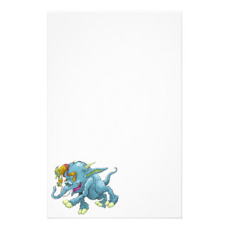 Cartoon illustration, of a running creature. personalized stationery