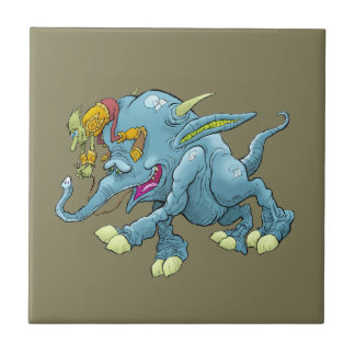 Cartoon illustration, of a running creature. small square tile