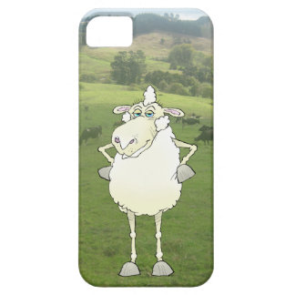 Cartoon illustration of a sheep in a paddock. case for the iPhone 5