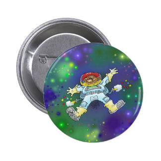 Cartoon illustration, of a space gnome, badge. 6 cm round badge