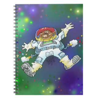 Cartoon illustration, of a space gnome, notebooks. notebooks