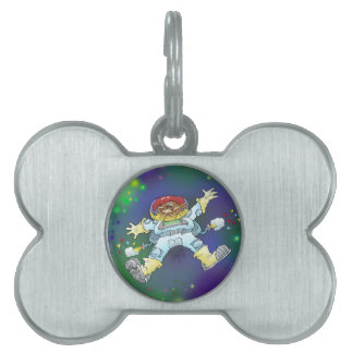 Cartoon illustration, of a space gnome. pet ID tags