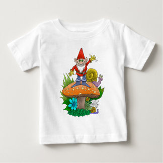 Cartoon illustration of a standing waving gnome. baby T-Shirt