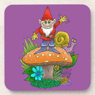 Cartoon illustration of a standing waving gnome. beverage coasters