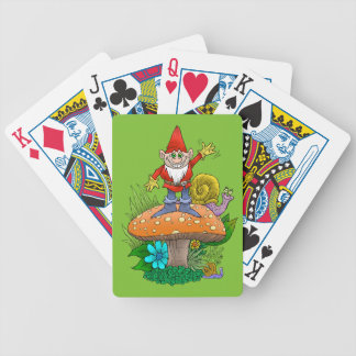 Cartoon illustration of a standing waving gnome. bicycle playing cards