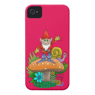 Cartoon illustration of a standing waving gnome. iPhone 4 Case-Mate cases