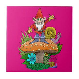 Cartoon illustration of a standing waving gnome. small square tile