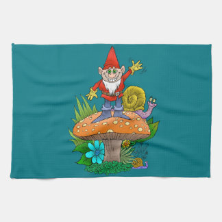 Cartoon illustration of a standing waving gnome. towel