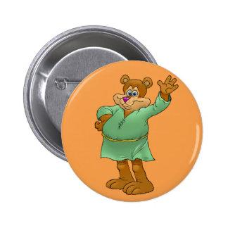 Cartoon illustration of a waving bear. 6 cm round badge