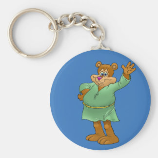Cartoon illustration of a waving bear. basic round button key ring