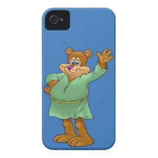 Cartoon illustration of a waving bear. iPhone 4 cases