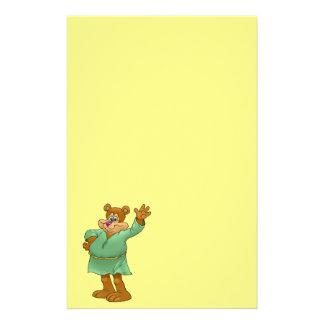 Cartoon illustration of a waving bear. stationery
