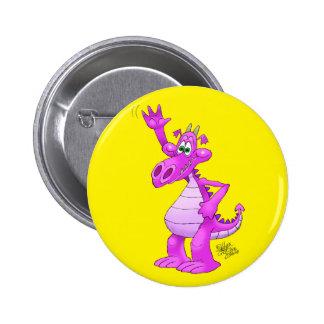 Cartoon illustration of a waving purple dragon. 6 cm round badge