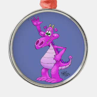 Cartoon illustration of a waving purple dragon. Silver-Colored round decoration