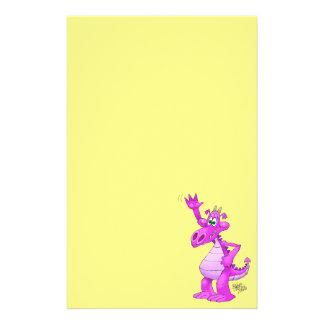 Cartoon illustration of a waving purple dragon. stationery design