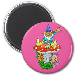 Cartoon illustration of a Waving sitting gnome. 6 Cm Round Magnet