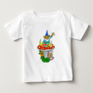 Cartoon illustration of a Waving sitting gnome. Baby T-Shirt