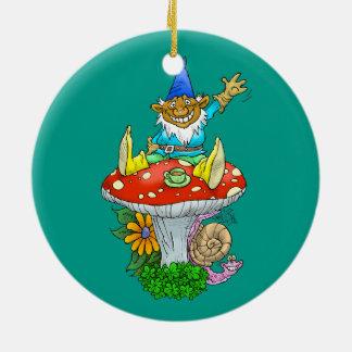 Cartoon illustration of a Waving sitting gnome. Round Ceramic Decoration