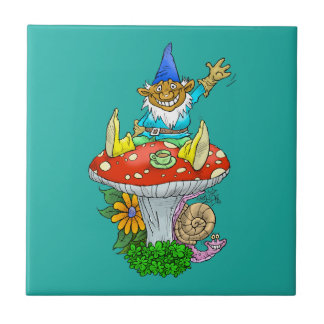 Cartoon illustration of a Waving sitting gnome. Small Square Tile