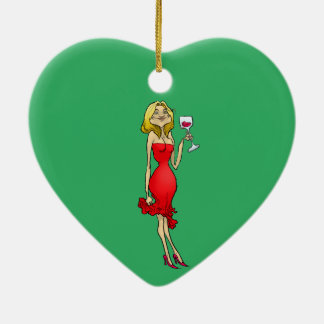 Cartoon illustration of a woman in a red dress. ceramic heart decoration