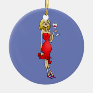 Cartoon illustration of a woman in a red dress. round ceramic decoration
