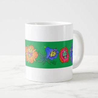 Cartoon illustration of creatures in flowers. large coffee mug