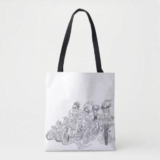 Cartoon illustration, of dirt bikers. tote bag