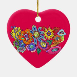 Cartoon illustration of flowers, Heart decoration. Ceramic Heart Decoration