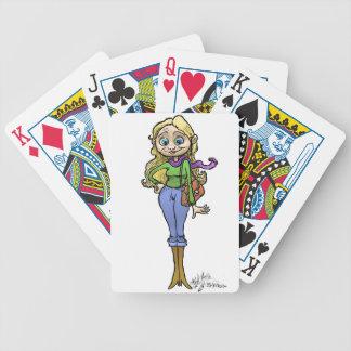 Cartoon Illustration of Shopping woman, cards. Poker Deck