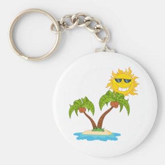 -Cartoon Island With Two Palm Tree And Cartoon Sun Key Chain