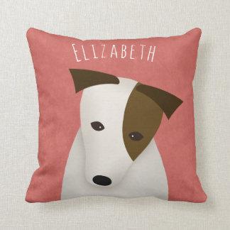 cartoon jack russell terrier with head tilt throw pillow