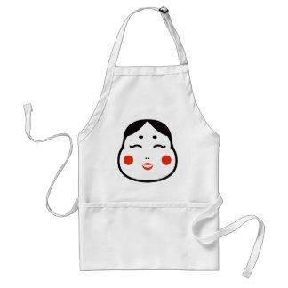 cartoon japanese okame face illustration standard apron