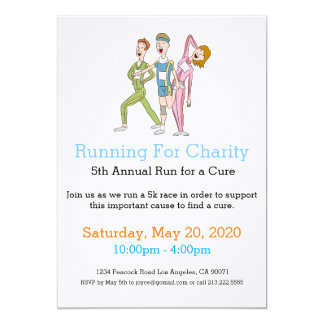Cartoon Joggers Running for Charity Invitation