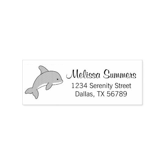 Cartoon Jumping Dolphin Address Rubber Stamp