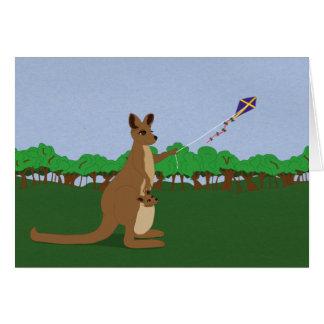 Cartoon Kangaroos Flying a Kite Greeting Card