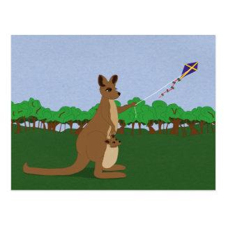 Cartoon Kangaroos Flying a Kite Postcard
