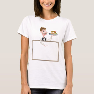 Cartoon Kebab Waiter Sign T-Shirt
