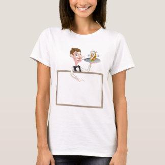Cartoon Kebab Waiter Signboard T-Shirt