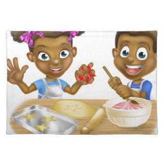 Cartoon Kid Bakers Cooking Placemat