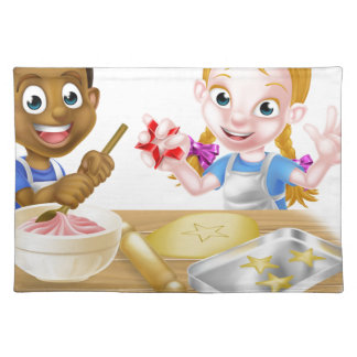 Cartoon Kid Chefs Baking Cakes Placemat