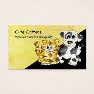 Cartoon Kitten Puppy Logo Business Card
