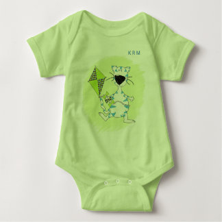 Cartoon Kitty with Green Kite and Baby's Monogram Baby Bodysuit