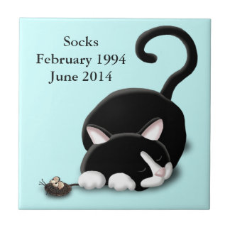 Cartoon Kitty with toy mouse Small Square Tile