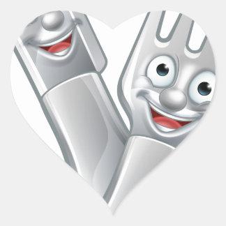 Cartoon Knife and Fork Food Mascots Heart Sticker