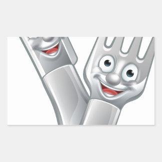 Cartoon Knife and Fork Food Mascots Rectangular Sticker