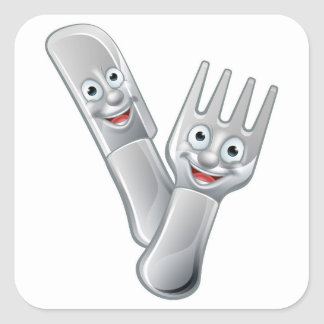 Cartoon Knife and Fork Food Mascots Square Sticker