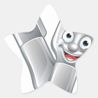 Cartoon Knife and Fork Food Mascots Star Sticker