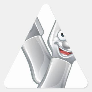 Cartoon Knife and Fork Food Mascots Triangle Sticker