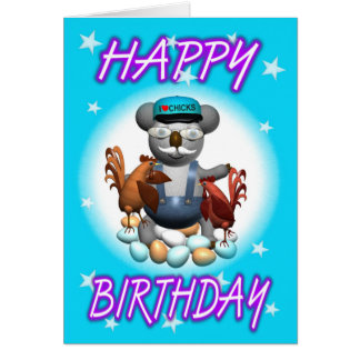 Cartoon Koala Chicken Farmer Card